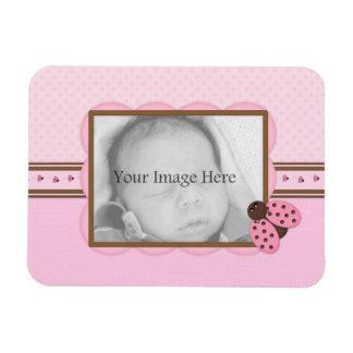 Pink & Brown Ladybug Custom Photo Magnet