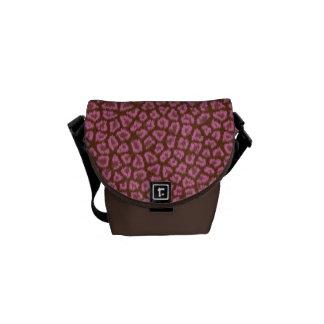 Pink & Brown Leopard Print Messenger Bag