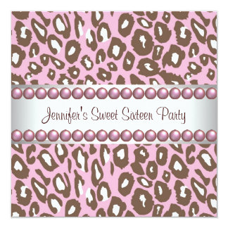 Pink Brown Leopard Sweet 16 Party Card