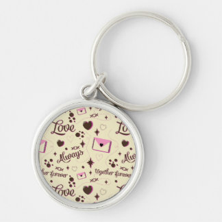Pink Brown Love Pattern Keychain