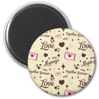 Pink Brown Love Pattern Magnet