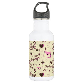 Pink Brown Love Pattern Stainless Steel Water Bottle