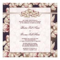 Pink Brown Magnolia Wedding Invitations