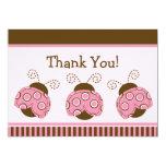 "Pink & Brown Mod Ladybug Baby Shower Thank You 5"" X 7"" Invitation Card"