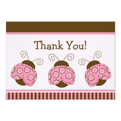 pink brown mod ladybug baby shower thank you 5x7 paper invitation