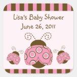 Pink & Brown Mod Ladybug Stickers/Envelope Seals Square Sticker