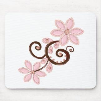 pink & brown modern floral mousepads