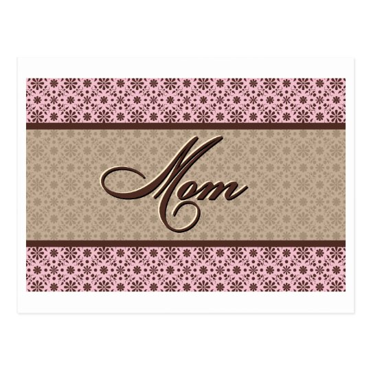 Pink Brown Mom Postcard