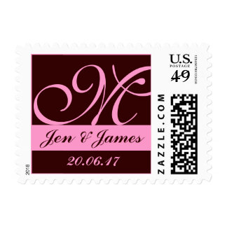 Pink Brown Monograms for Weddings Postage