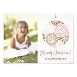 Pink & Brown Ornament Holiday Photo Card
