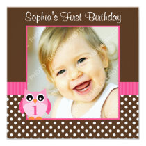 Pink Brown Owl Polka Dot 1st Birthday Girl Photo Card