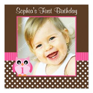 "Pink Brown Owl Polka Dot 1st Birthday Girl Photo 5.25"" Square Invitation Card"