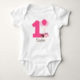 Pink Brown Owl Polka Dot 1st Birthday Girl Shirt