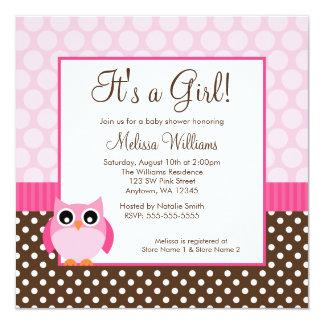 Pink Brown Owl Polka Dot Girl Baby Shower Card