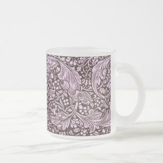 Pink & Brown Page Border Frosted Glass Coffee Mug