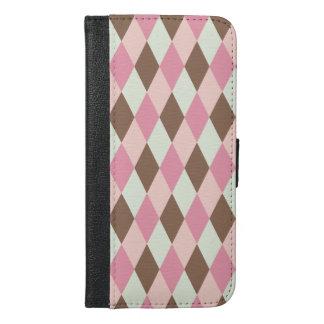 Pink & Brown Pattern iPhone 6/6s Plus Wallet Case