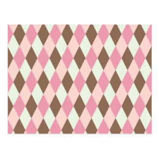 Pink & Brown Pattern Postcard