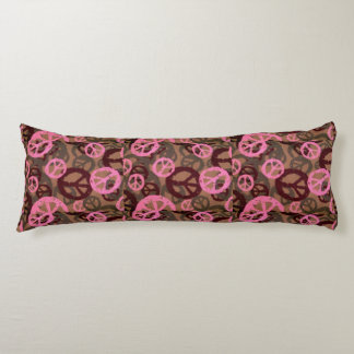 Pink/Brown Peace Signs Camo Look Body Pillow