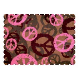 Pink Brown Peace Signs Invitation