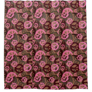 Pink Brown Peace Signs Shower Curtain