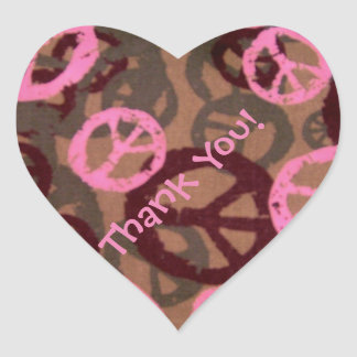 Pink Brown Peace Signs Thank You Stickers