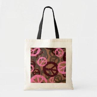 Pink/Brown Peace Signs Tote Bag