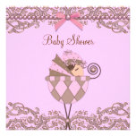 Pink Brown Pearls Lace Girl Baby Shower Personalized Invitations