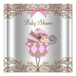 Pink Brown Pearls Lace Girl Baby Shower Announcement