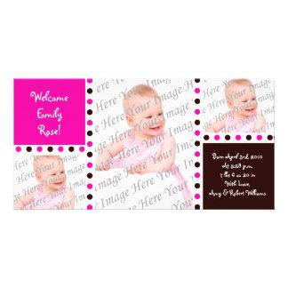 Pink Brown Photo Birth Announcements Custom Photo Card