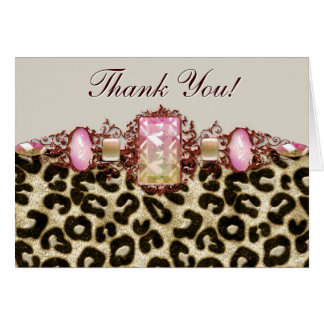 Pink Brown Pink Leopard Thank You Cards