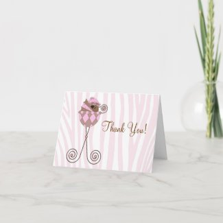 Pink Brown Pink Zebra Baby Shower Thank You Cards card