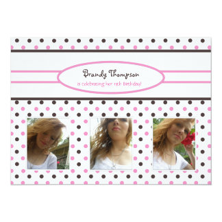 Pink & Brown Polka Dot: Picture Invitation