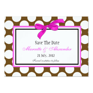 Pink Brown Polka Dot Save The Date Card