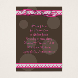 Pink & Brown Polka Dots Bat Mitzvah Reception Card