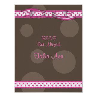 Pink & Brown Polka Dots Bat Mitzvah Response Card