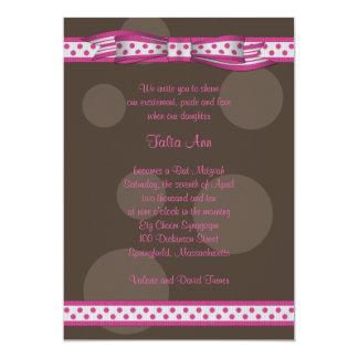Pink Brown Polka Dots Bow Bat Mitzvah Invitation