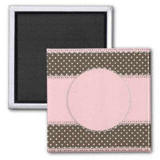 Pink Brown Polka Dots Delicate Bridal or Baby Show 2 Inch Square Magnet