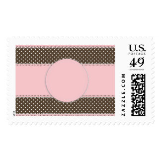 Pink Brown Polka Dots Delicate Bridal or Baby Show Postage