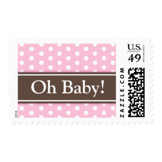 Pink brown polka dots girls Oh Baby shower stamp