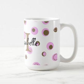 Pink Brown Polka Dots Monogrammed Mug