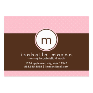 Pink & Brown Polkadots Mommy Card Large Business Cards (Pack Of 100)
