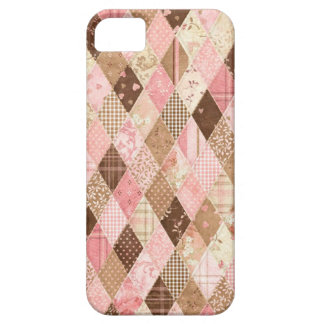 Pink & Brown Quilted Florals iPhone 5 Case