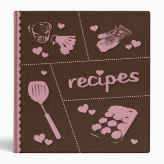Pink & Brown Recipes Made With Love Binder
