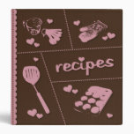 Pink & Brown Recipes Made With Love Vinyl Binders