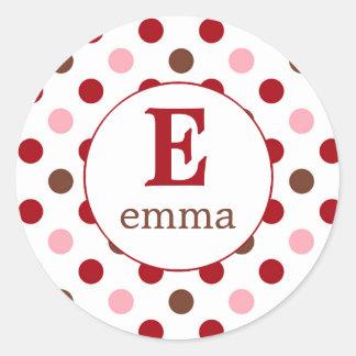 Pink, brown, red return pola dots (#LABL024) Classic Round Sticker