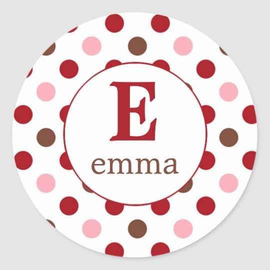 Pink, brown, red return pola dots (#LABL024) Classic Round Sticker