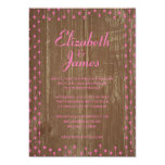 Pink Brown Rustic Country Wood Wedding Invitations Custom Announcements