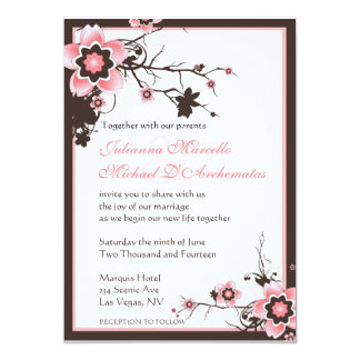 Pink & Brown Sakura Cherry Blossoms Wedding Invite