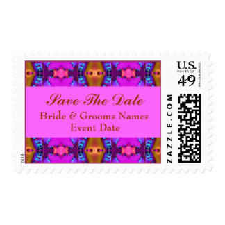 pink brown save the date postage stamp