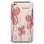 Pink & Brown Scribbled Flower Phone Case for Her Case-Mate iPod Touch Case